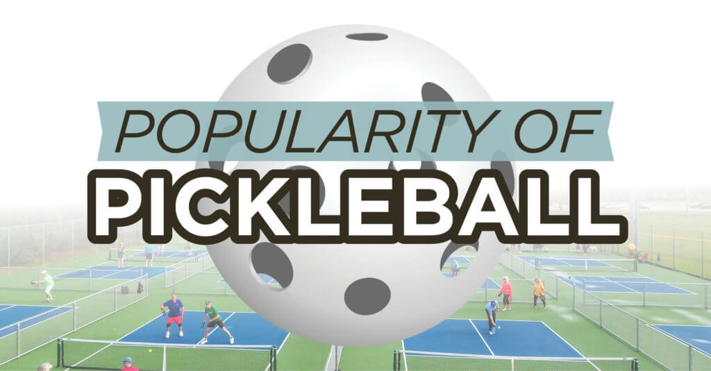 """people playing pickleball court with """"Popularity of Pickleball"""" graphic overlaid"""