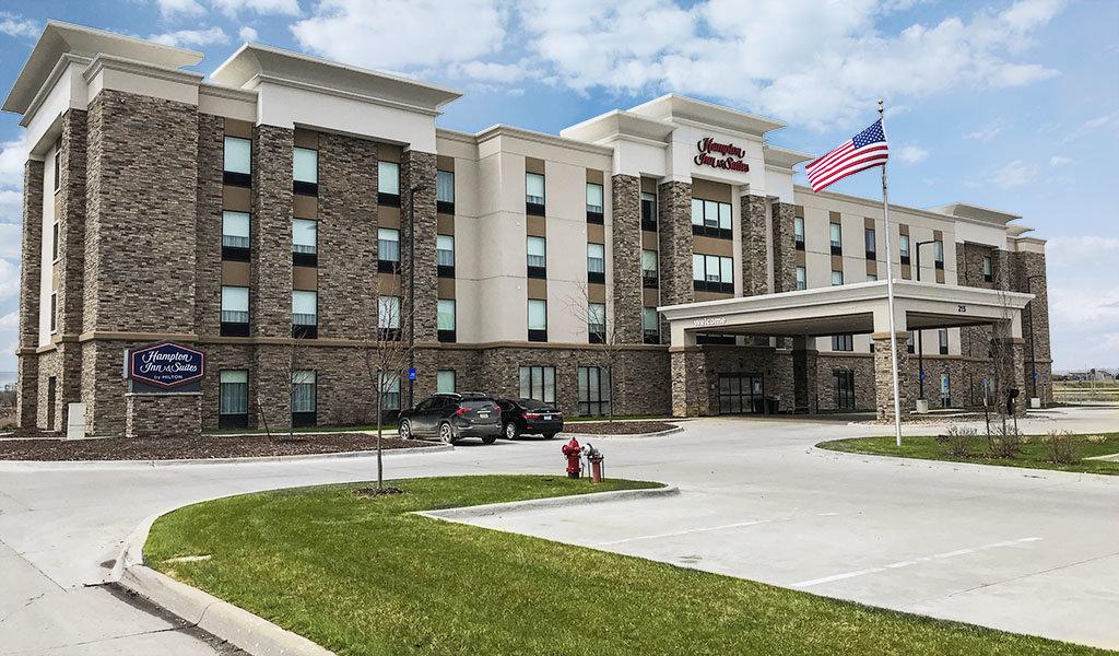 Front entrance of brand new Hampton Inn hotel