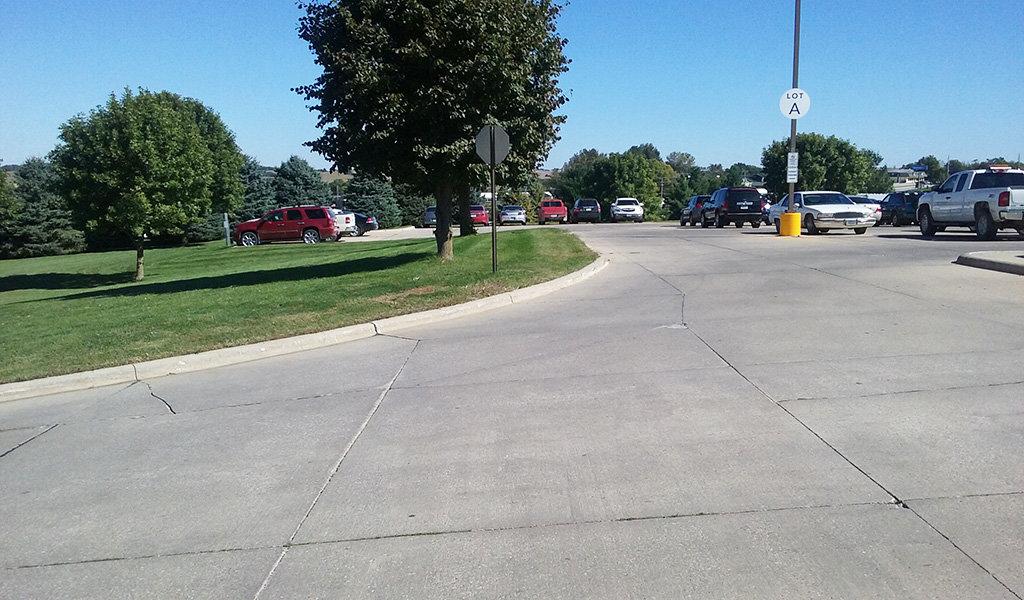 large newly paved parking lot