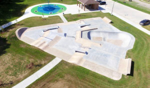 aerial photo of skate park and climbing structure