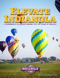 Elevate Indianola poster with hot air balloons