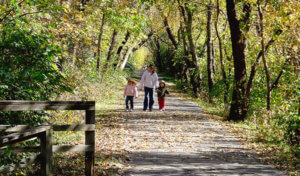 mom and two kids walking down a forested path