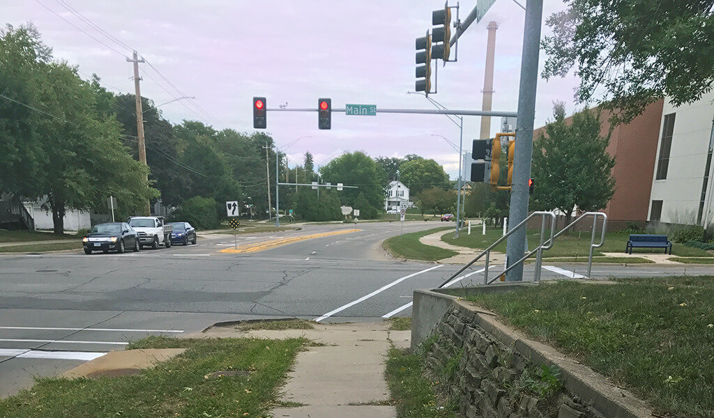 red light intersection at Main street