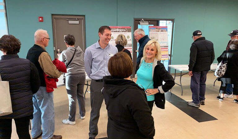 people mingling at an open house