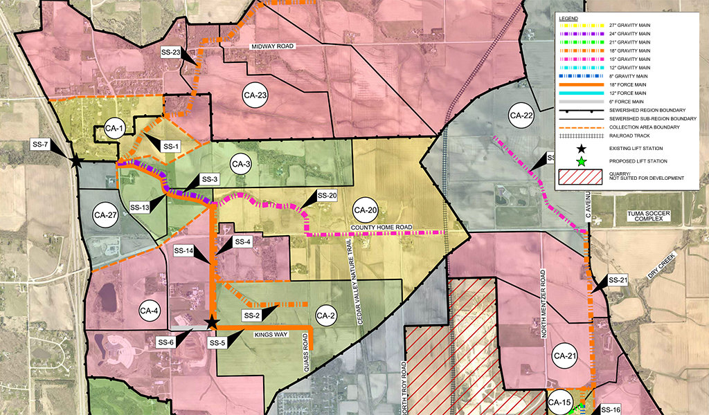multi-colored sewer collection map