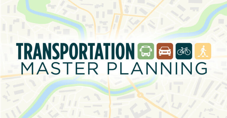 generic land use map with Transportation Master Planning with icons superimposed