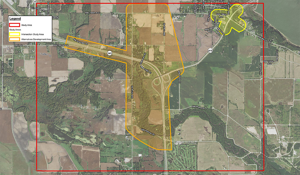 aerial map with sections highlighted showing project spaces