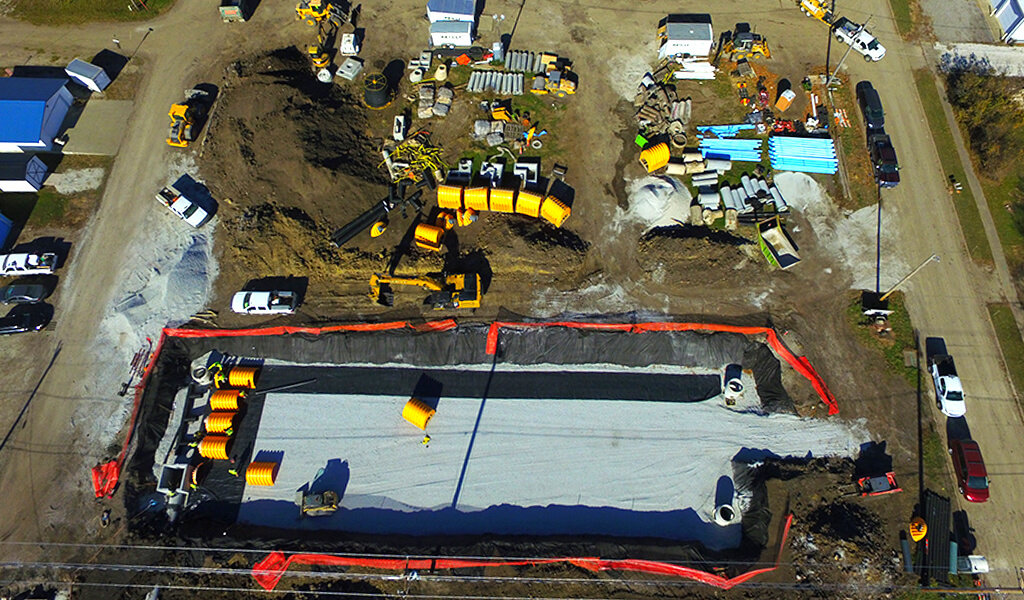 drone photo of detention basin construction