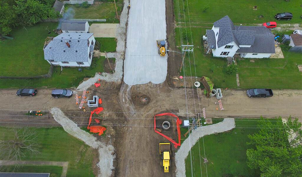 aerial photo of jasper construction site