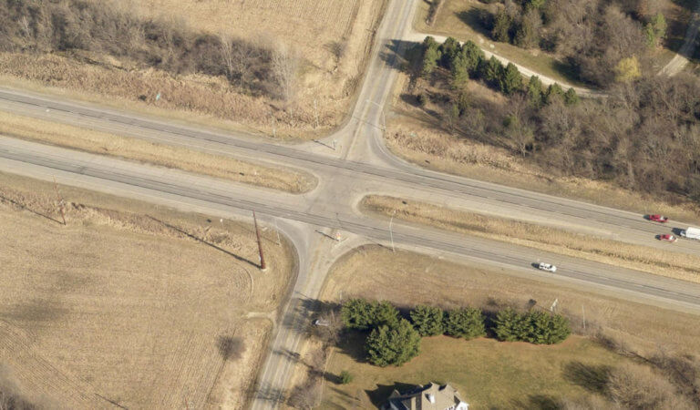 over head shot of project intersection
