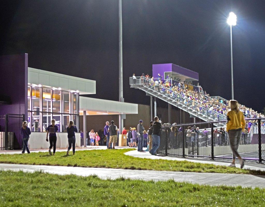 night view of high school athletics stadium