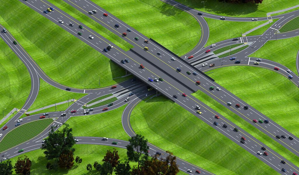aerial rendering of diverging diamond interchange