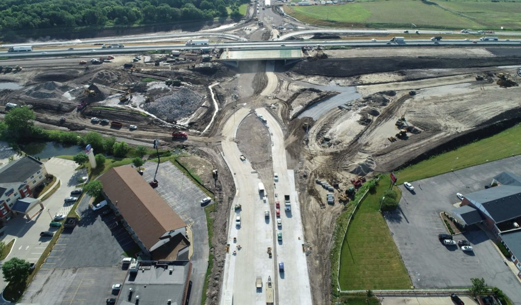 aerial view of diverging diamond intersection being constructed