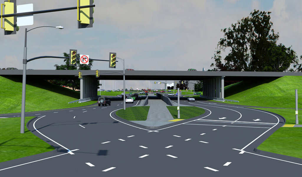 ground level 3D rendering of diverging diamond interchange
