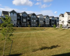 Rows of townhomes with vast greenspace