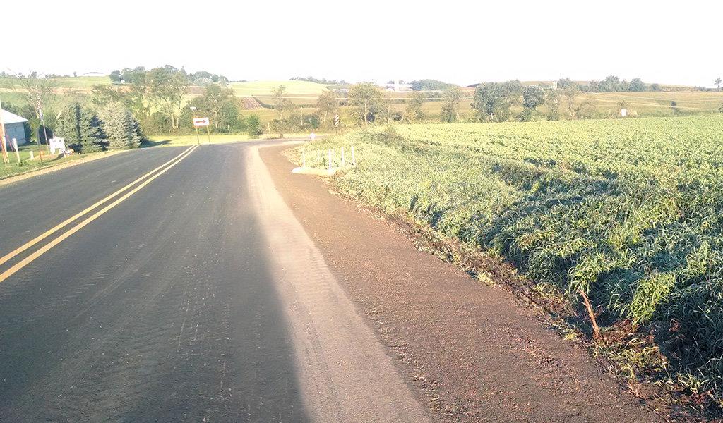 new asphalt laid on road