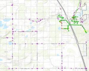 white GIS map shows roadway plotting