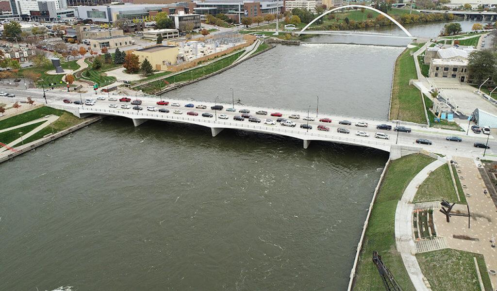 aerial view of updated bridge