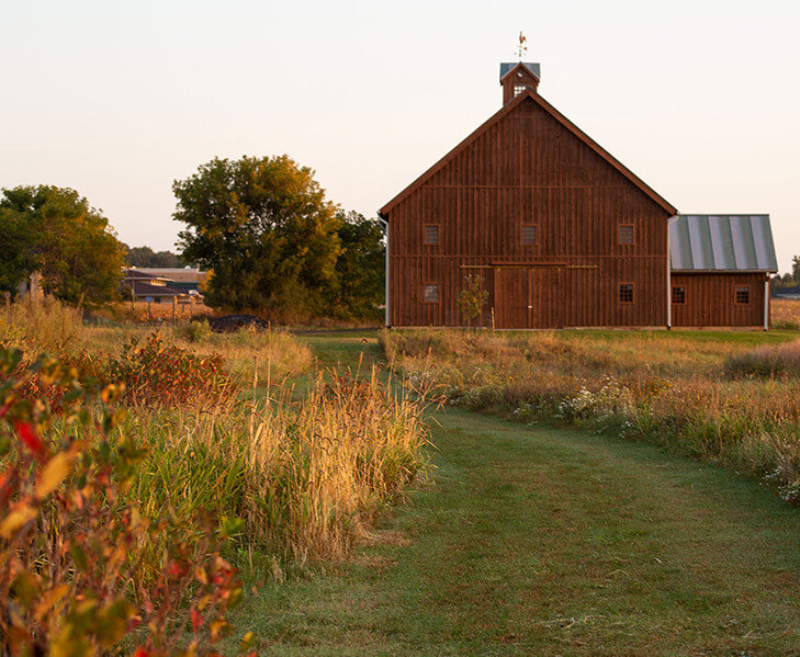 mowed pathway leading to old wood barn
