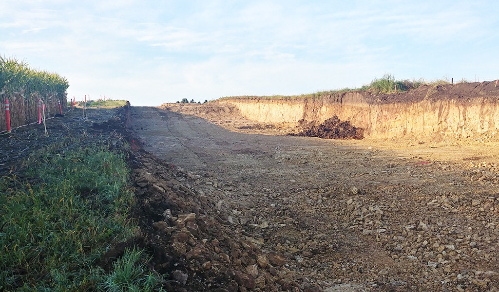 area dug out in preparation of road