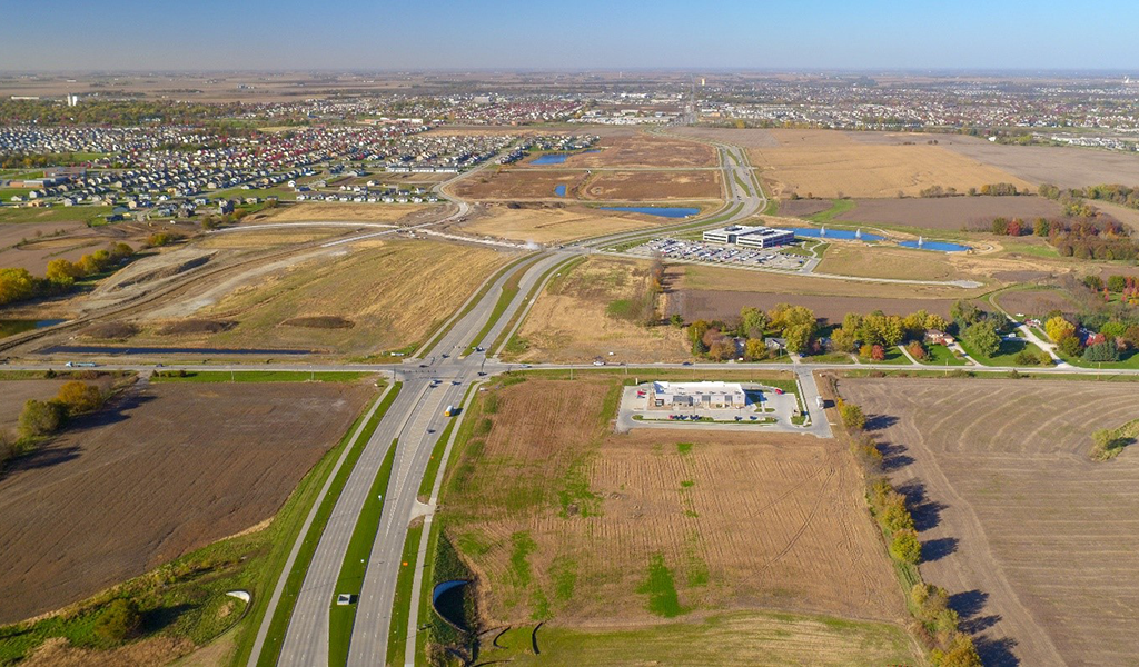 sky view of farmland and interstate