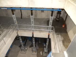 looking down on multi-level facility floors