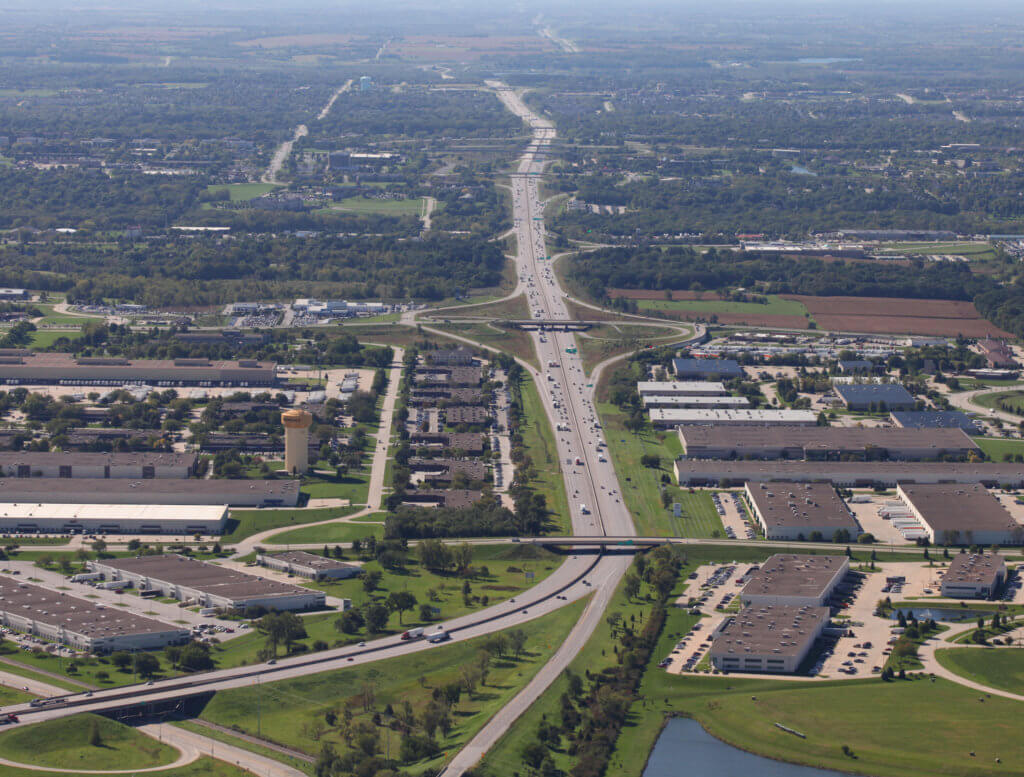 Aerial view of interstate 80/35.