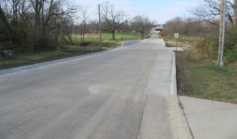 Recent construction E 1s St Bridge in Monticello, Iowa.