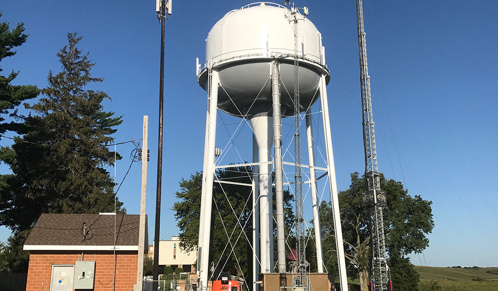 Recently repainted water tower.