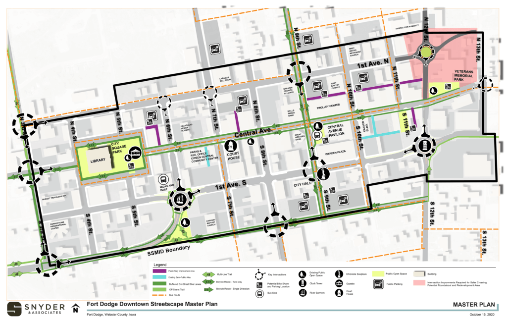 fort dodge downtown streetscape map