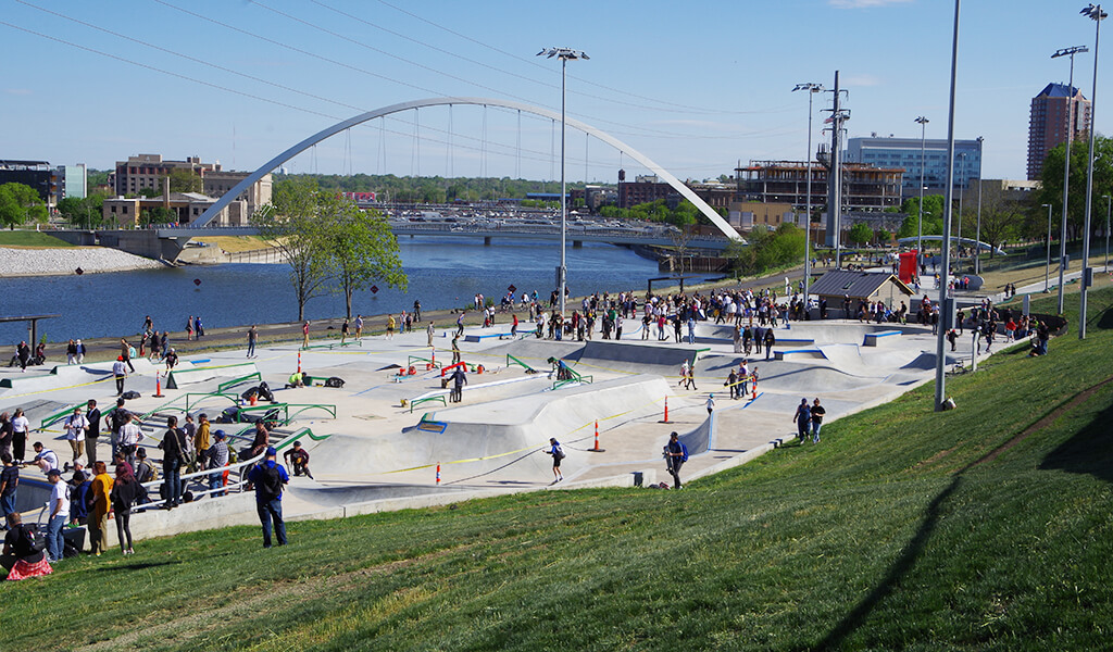 A massive crowd swarmed the riverfront for the opening day of the new Lauridsen Skatepark.