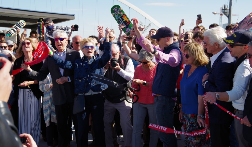 Many involved with the fundraising efforts for the new skatepark were on-hand for the grand opening ceremony on May 7, 2021.