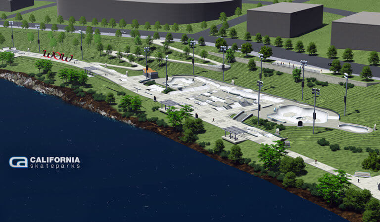 rendering of entire skate park next to river