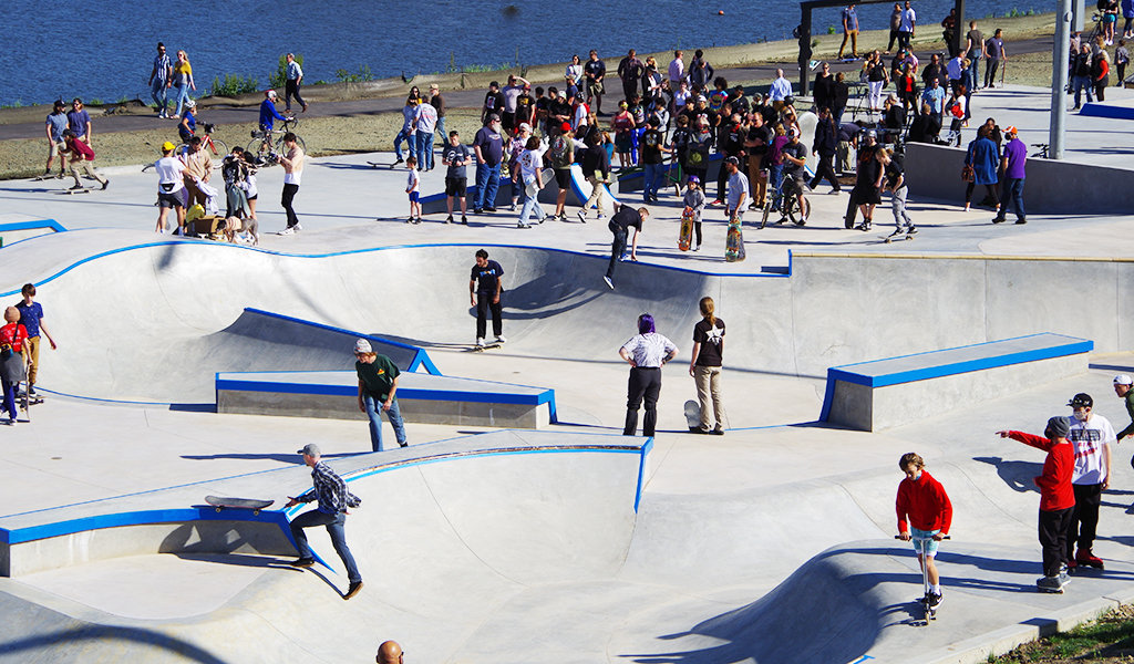 With dozens of unique features, the skatepark has challenges for all skill levels.