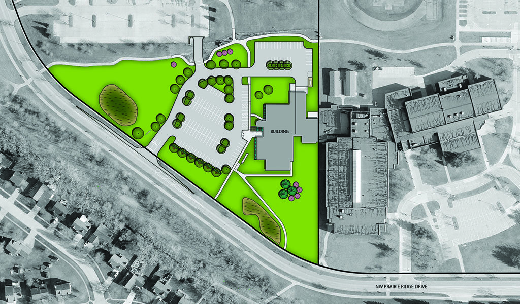 aerial rendering of proposed parking lot and stormwater updates to the new ankeny public services building