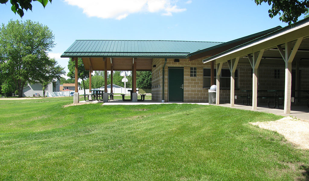 recently complete community building pavilion within Troy park in Robins, IA