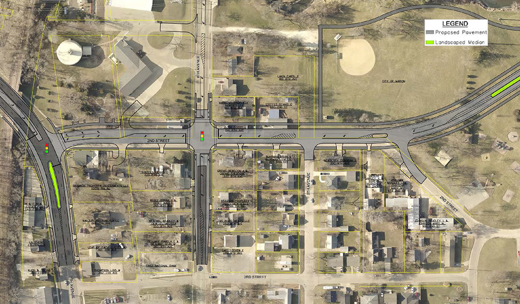 aerial rendering of alburnett rd extension project area