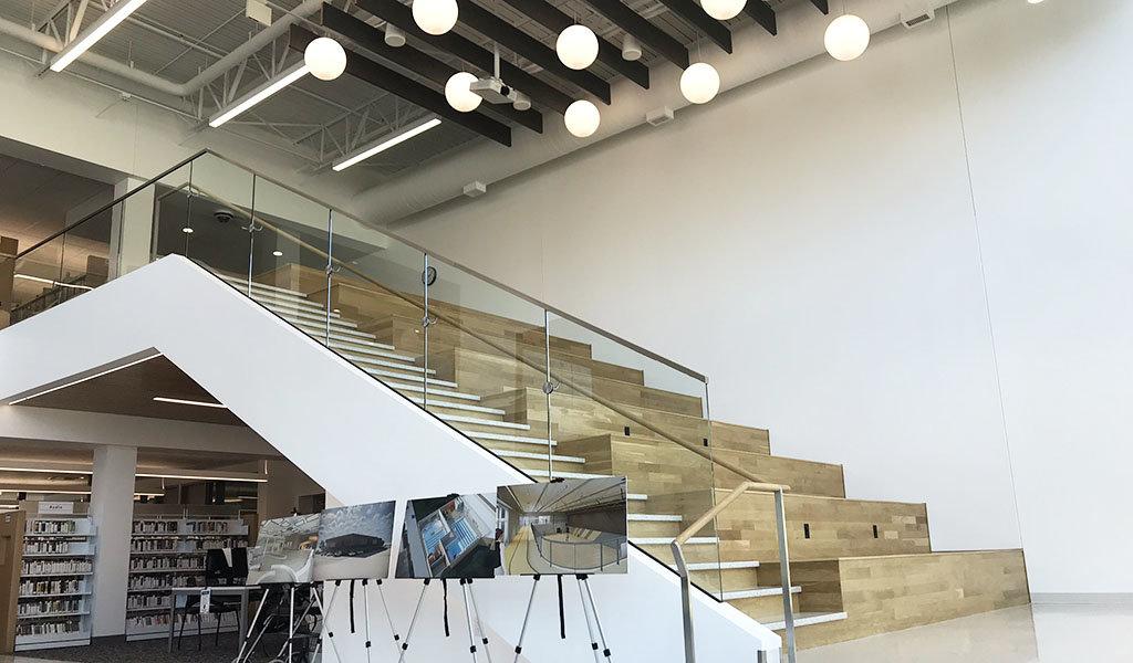 carroll iowa library building lobby social stairway