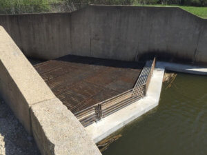 Large fish barrier attached to spillway
