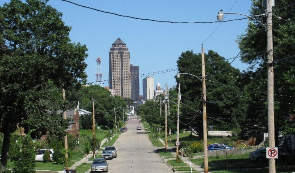 view of downtown skyscrapers at then end of a main street