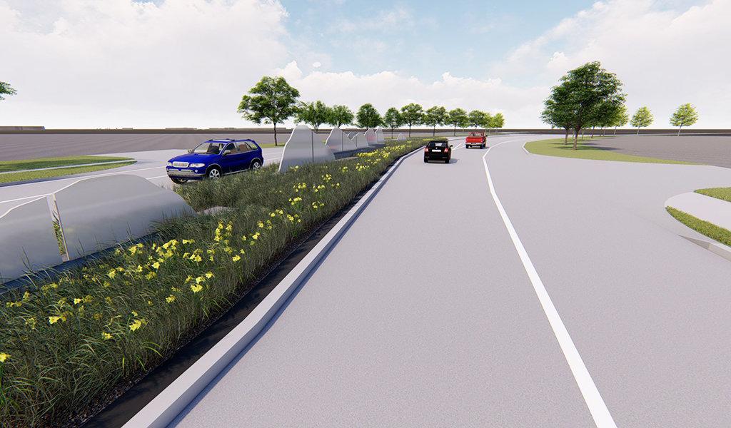 Rendering of NE 70 St improvements in Pleasant Hill, Iowa.