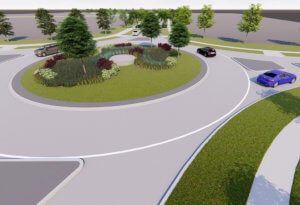 A concept rendering of a roundabout.