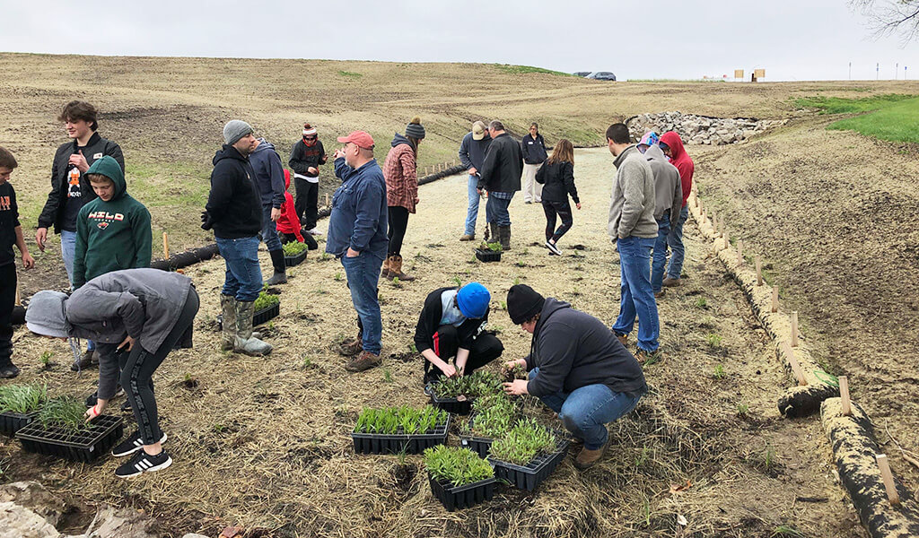 Group of people planting native plants in bioretention cell