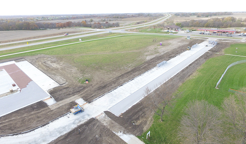 Drone photo of newly construct roadway