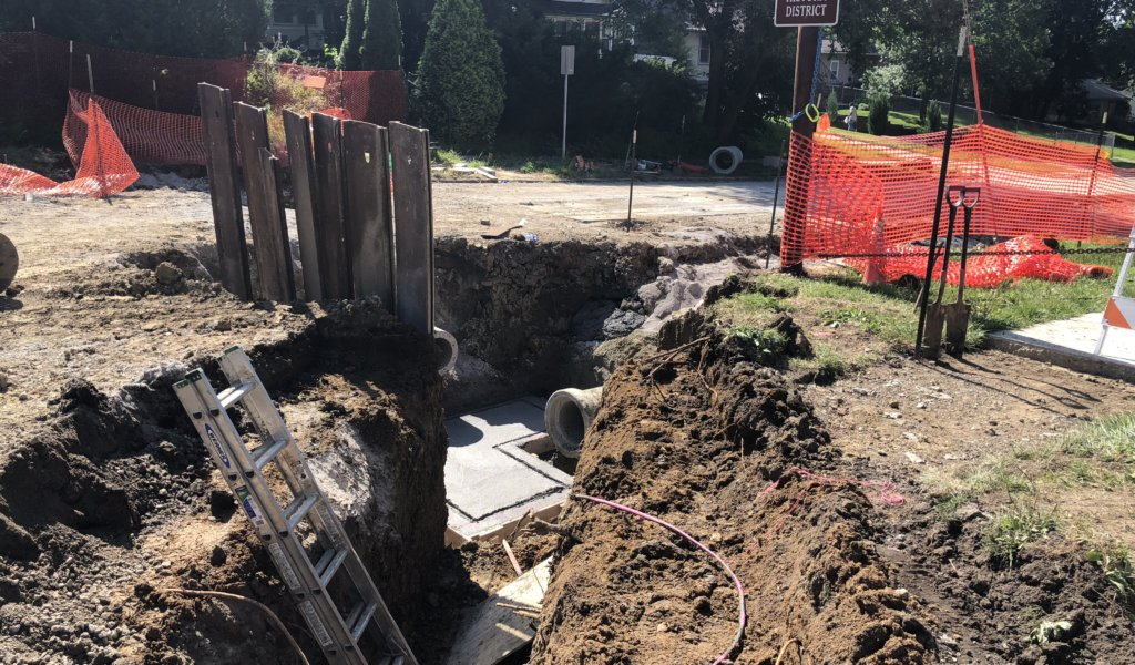 construction work in a deep trench