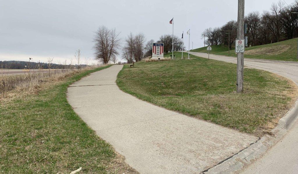 start of walking trail off of street