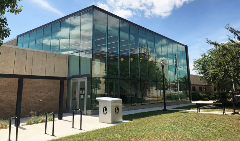 carroll iowa public library glass lobby entrance