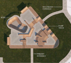 rendering of triangle shaped skate park