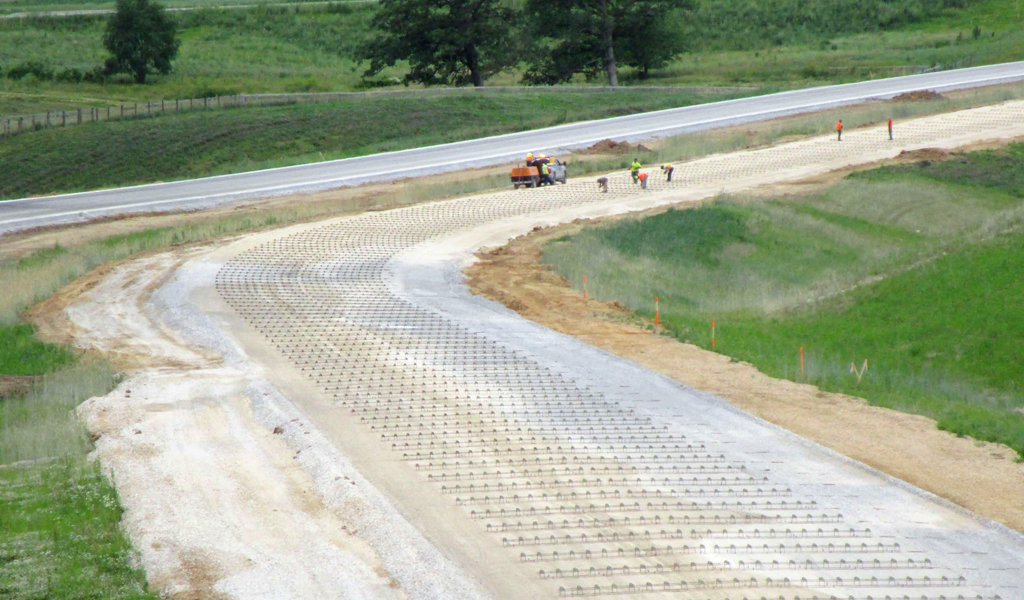 concrete roads in the process of being laid
