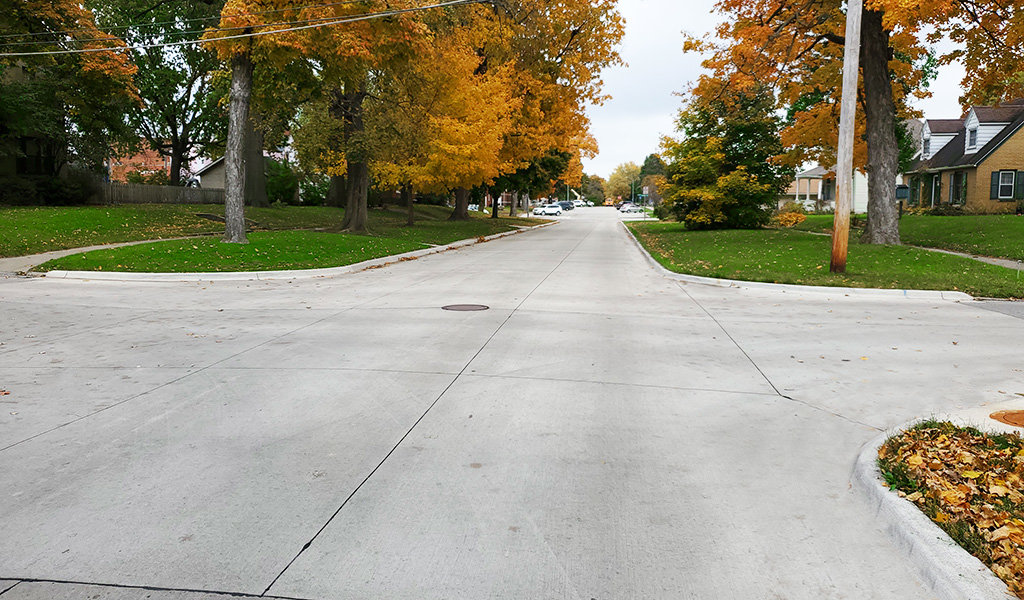 new concreate roadway in the fall
